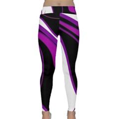 Purple Elegant Lines Yoga Leggings by Valentinaart