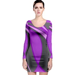 Purple Elegant Lines Long Sleeve Bodycon Dress by Valentinaart