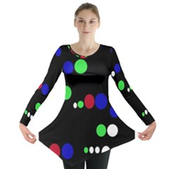 Colorful Dots Long Sleeve Tunic  by Valentinaart