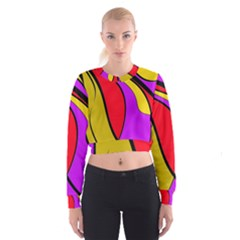 Colorful Lines Women s Cropped Sweatshirt by Valentinaart