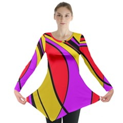 Colorful Lines Long Sleeve Tunic  by Valentinaart