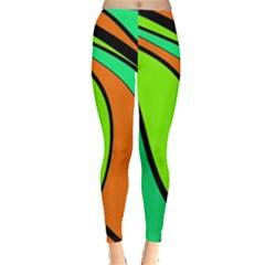 Green And Orange Leggings  by Valentinaart