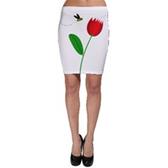 Red Tulip And Bee Bodycon Skirt by Valentinaart