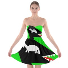 Wolf And Sheep Strapless Dresses by Valentinaart