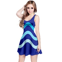 Blue Waves  Reversible Sleeveless Dress by Valentinaart