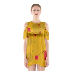 Yellow Abstract Sky Cutout Shoulder Dress by Valentinaart