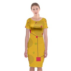 Yellow Abstract Sky Classic Short Sleeve Midi Dress by Valentinaart
