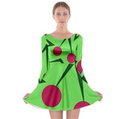 Cherries  Long Sleeve Skater Dress by Valentinaart