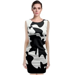 Black And White Elegant Design Classic Sleeveless Midi Dress by Valentinaart