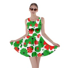 Red And Green Christmas Design  Skater Dress by Valentinaart