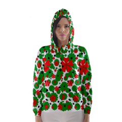 Red And Green Christmas Design  Hooded Wind Breaker (women) by Valentinaart