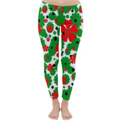 Red And Green Christmas Design  Winter Leggings  by Valentinaart