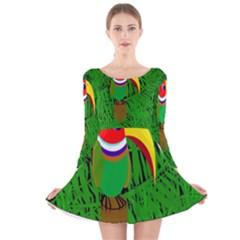 Toucan Long Sleeve Velvet Skater Dress by Valentinaart