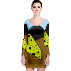 Cheese  Long Sleeve Bodycon Dress by Valentinaart
