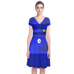 Blue Monster Fish Short Sleeve Front Wrap Dress by Valentinaart