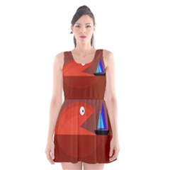 Red Monster Fish Scoop Neck Skater Dress by Valentinaart