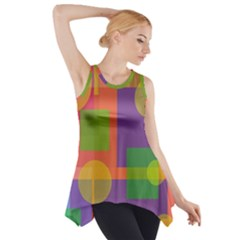 Colorful Geometrical Design Side Drop Tank Tunic by Valentinaart