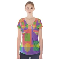 Colorful Geometrical Design Short Sleeve Front Detail Top by Valentinaart