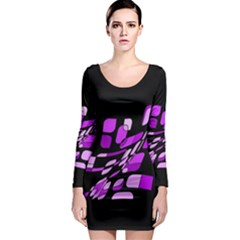 Purple Decorative Abstraction Long Sleeve Bodycon Dress by Valentinaart