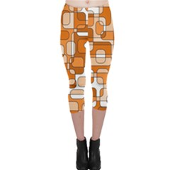 Orange Decorative Abstraction Capri Leggings  by Valentinaart