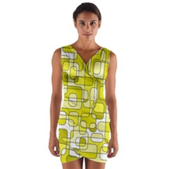 Yellow Decorative Abstraction Wrap Front Bodycon Dress by Valentinaart