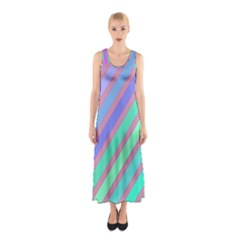 Pastel Colorful Lines Sleeveless Maxi Dress by Valentinaart