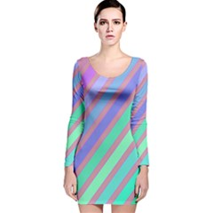Pastel Colorful Lines Long Sleeve Velvet Bodycon Dress by Valentinaart