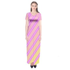 Pink And Yellow Elegant Design Short Sleeve Maxi Dress by Valentinaart