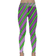 Purple And Green Lines Yoga Leggings by Valentinaart