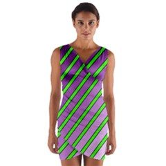 Purple And Green Lines Wrap Front Bodycon Dress by Valentinaart