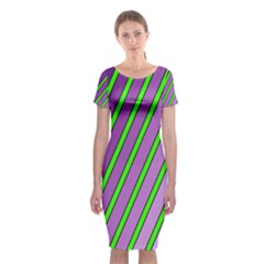 Purple And Green Lines Classic Short Sleeve Midi Dress by Valentinaart