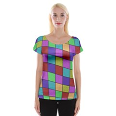 Colorful Cubes  Women s Cap Sleeve Top by Valentinaart