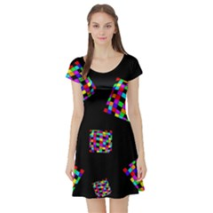 Flying  Colorful Cubes Short Sleeve Skater Dress by Valentinaart