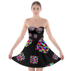 Flying  Colorful Cubes Strapless Dresses by Valentinaart