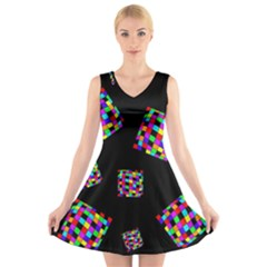Flying  Colorful Cubes V-neck Sleeveless Skater Dress by Valentinaart