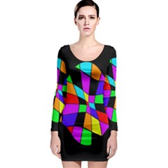 Abstract Colorful Flower Long Sleeve Bodycon Dress by Valentinaart