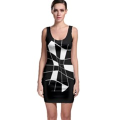 Black And White Abstract Flower Sleeveless Bodycon Dress by Valentinaart
