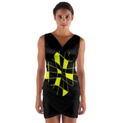 Yellow Abstract Flower Wrap Front Bodycon Dress by Valentinaart