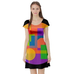 Colorful Circle  Short Sleeve Skater Dress by Valentinaart