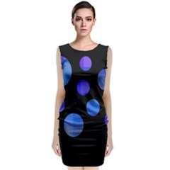 Blue Circles  Classic Sleeveless Midi Dress by Valentinaart