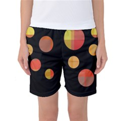Orange Abstraction Women s Basketball Shorts by Valentinaart