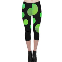 Green Circles Capri Leggings  by Valentinaart