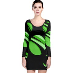 Green Balls   Long Sleeve Velvet Bodycon Dress by Valentinaart