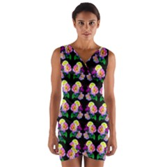 Rosa Yellow Roses Pattern On Black Wrap Front Bodycon Dress by Costasonlineshop