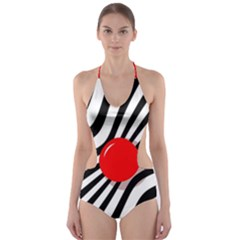 Abstract Red Ball Cut Out One Piece Swimsuit by Valentinaart