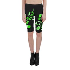 Green Decorative Abstraction Cropped Leggings  by Valentinaart