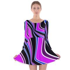 Colors Of 70 s Long Sleeve Velvet Skater Dress by Valentinaart