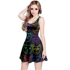 Retro Rainbow Cats  Reversible Sleeveless Dress by BubbSnugg