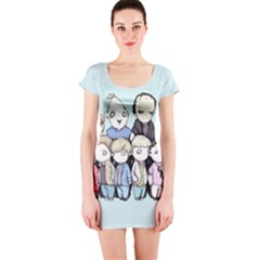 Goonies Vs Monster Squad Short Sleeve Bodycon Dress by lvbart