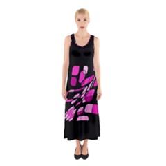 Purple Abstraction Sleeveless Maxi Dress by Valentinaart